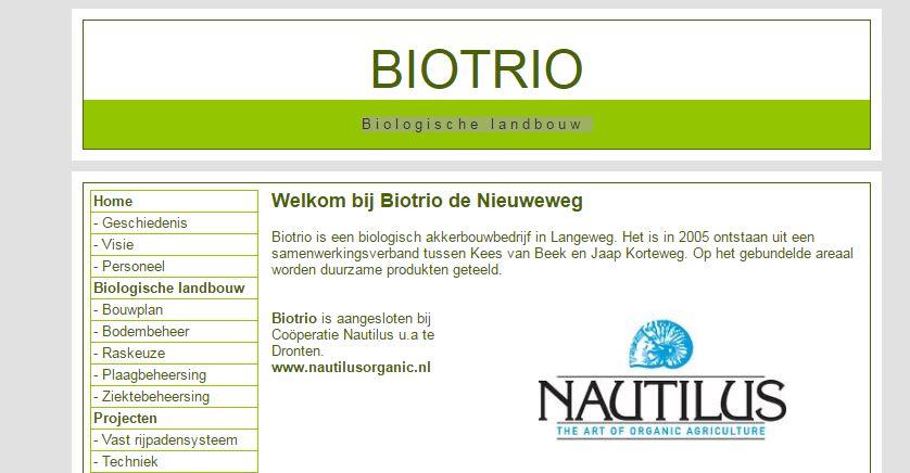 Biotrio, akkerbouw